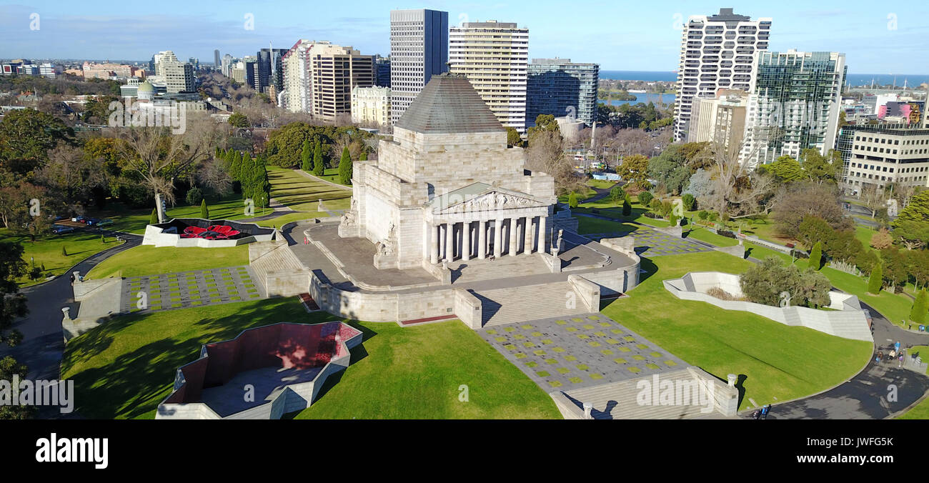 An aerial perspective to the Shrine of Remembrance, Melbourne - Stock Image