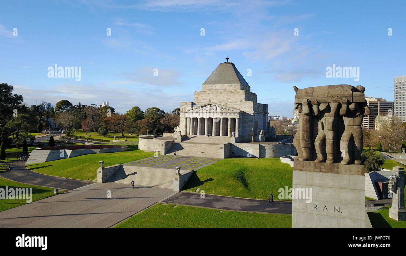 A new perspective to the Shrine of Remembrance, Melbourne - Stock Image