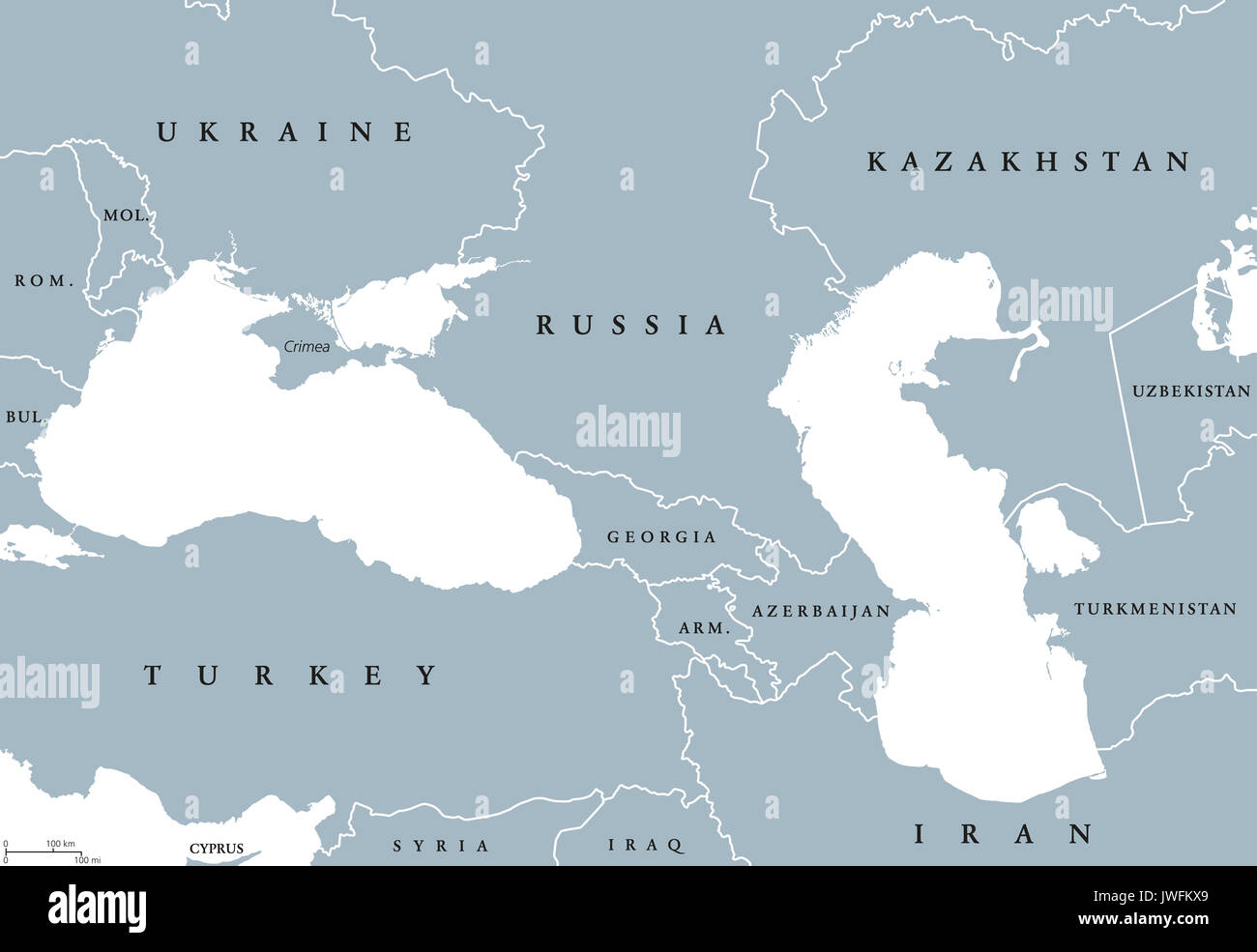 Black Sea and Caspian Sea region political map with ...