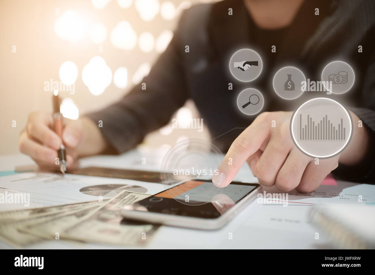 Business man calculateFinancial Planning Report in Spreadsheet .Internal revenue Service inspector checking financial document vintage tone. - Stock Image