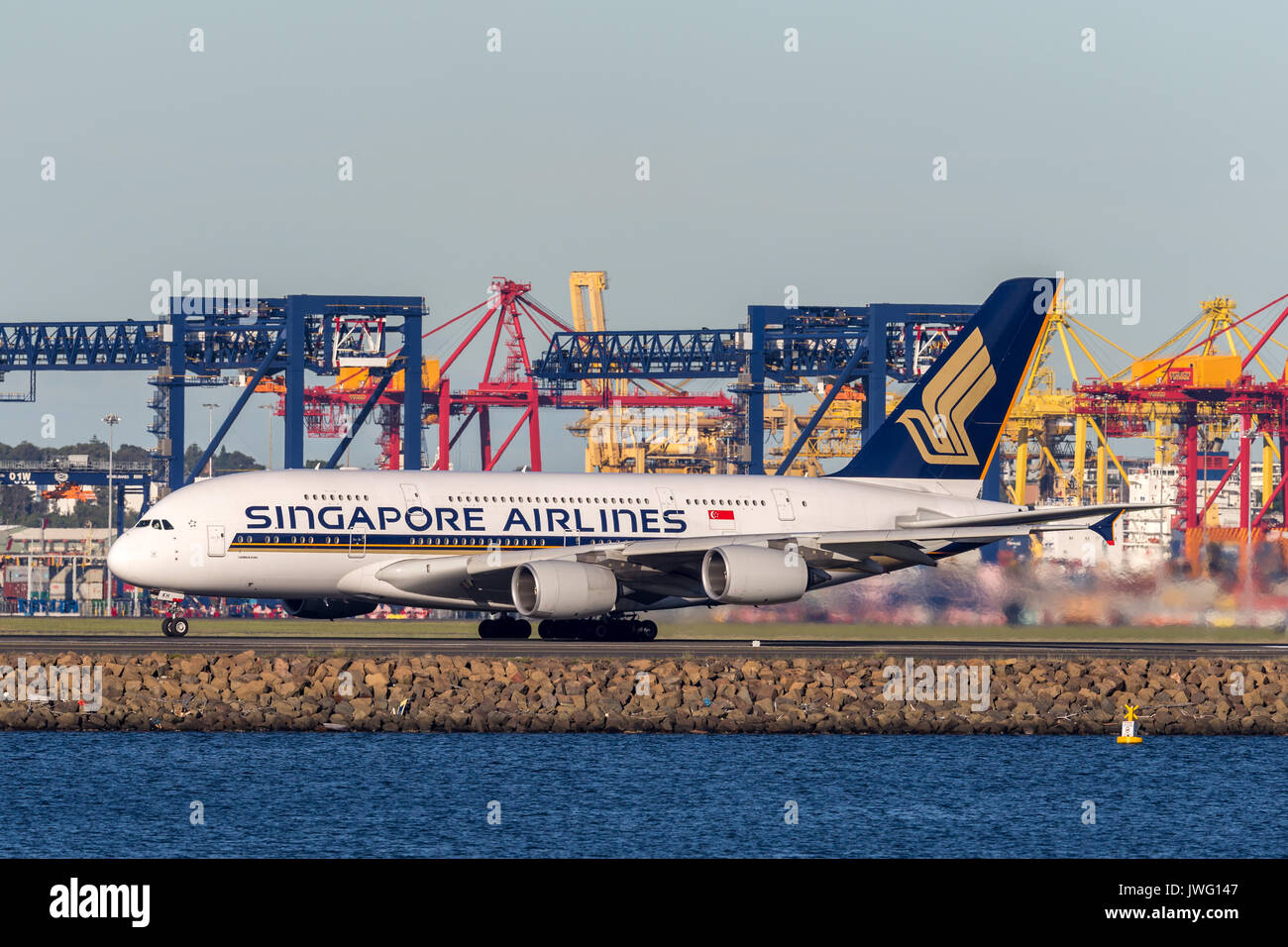 Singapore Airlines Airbus A380 aircraft at Sydney Airport. Stock Photo