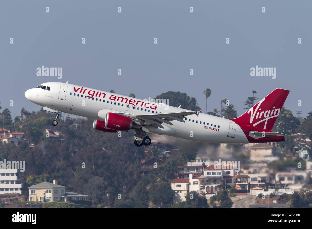 Virgin America Airbus A320-214 N847VA departing San Diego International Airport. - Stock Image