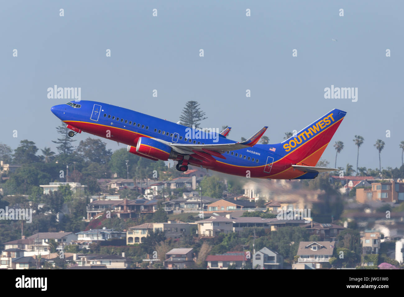 Southwest Airlines Boeing 737-7H4 N458WN departing San Diego International Airport. - Stock Image