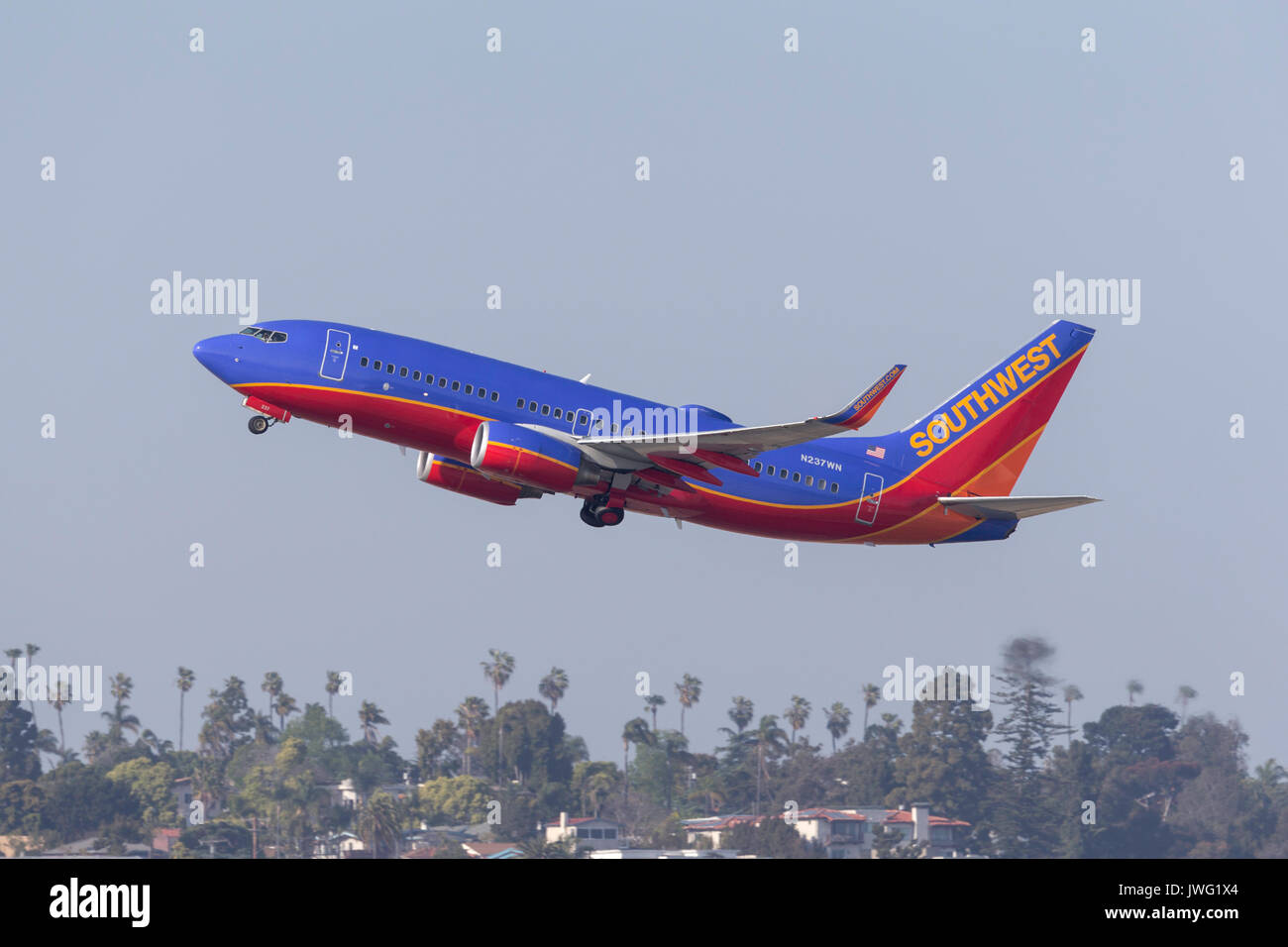 Southwest Airlines Boeing 737-7H4 N237WN departing San Diego International Airport. - Stock Image