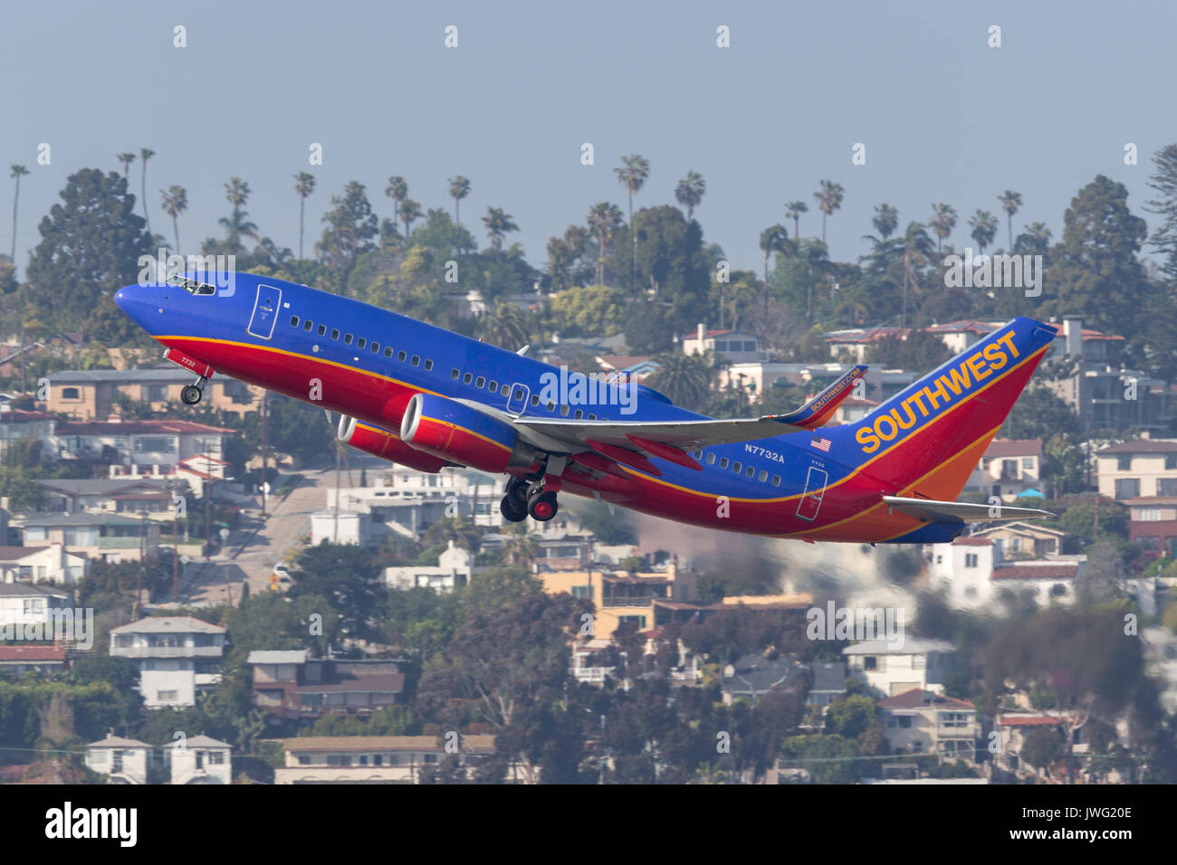 Southwest Airlines Boeing 737-7BD N7732A departing San Diego International Airport. - Stock Image