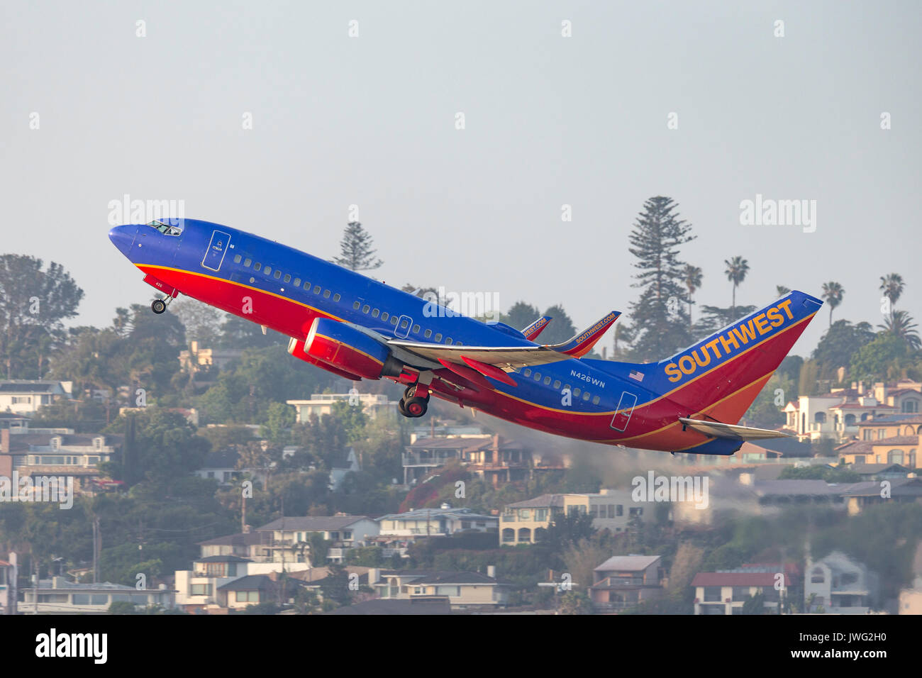 263dfedced96 Southwest Airlines Boeing 737-7H4 N426WN departing San Diego International  Airport. - Stock Image