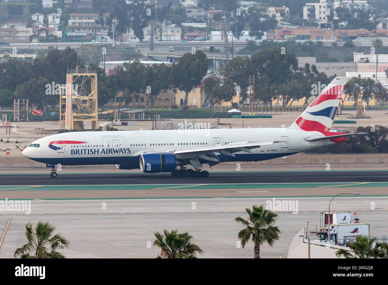 British Airways Boeing 777-236/ER G-YMMU arriving at San Diego International Airport. Stock Photo