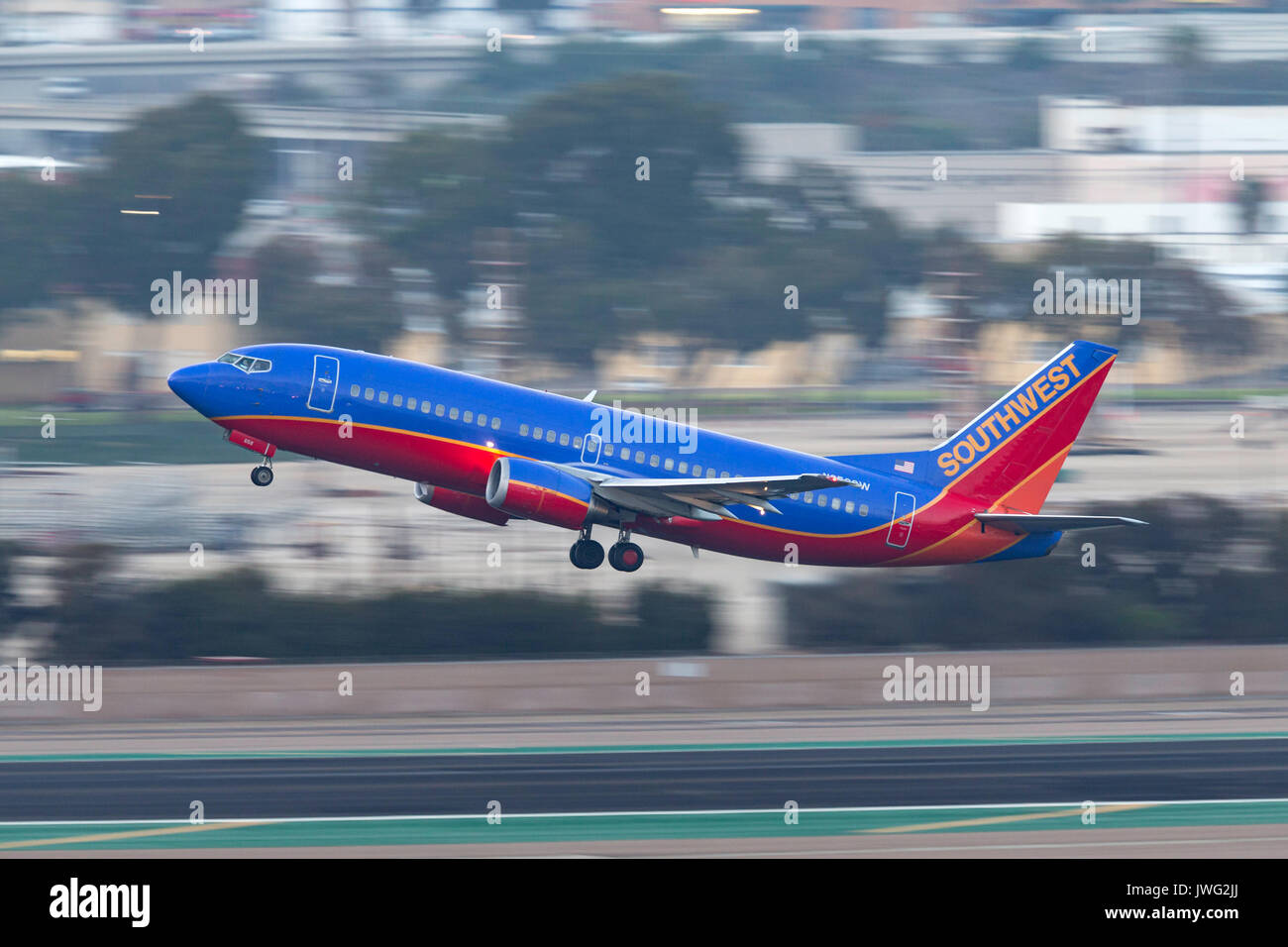 Southwest Airlines Boeing 737-3L9 N658SW departing San Diego International Airport. - Stock Image