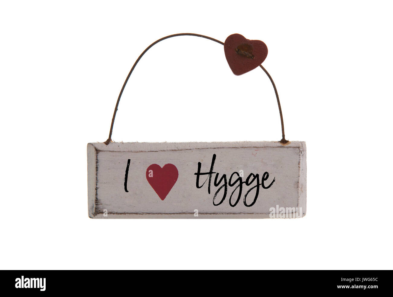 I Love HYGGE sign on a white background, Hygge is a Danish and Norwegian word which can be described as a quality of cosiness and comfortable - Stock Image