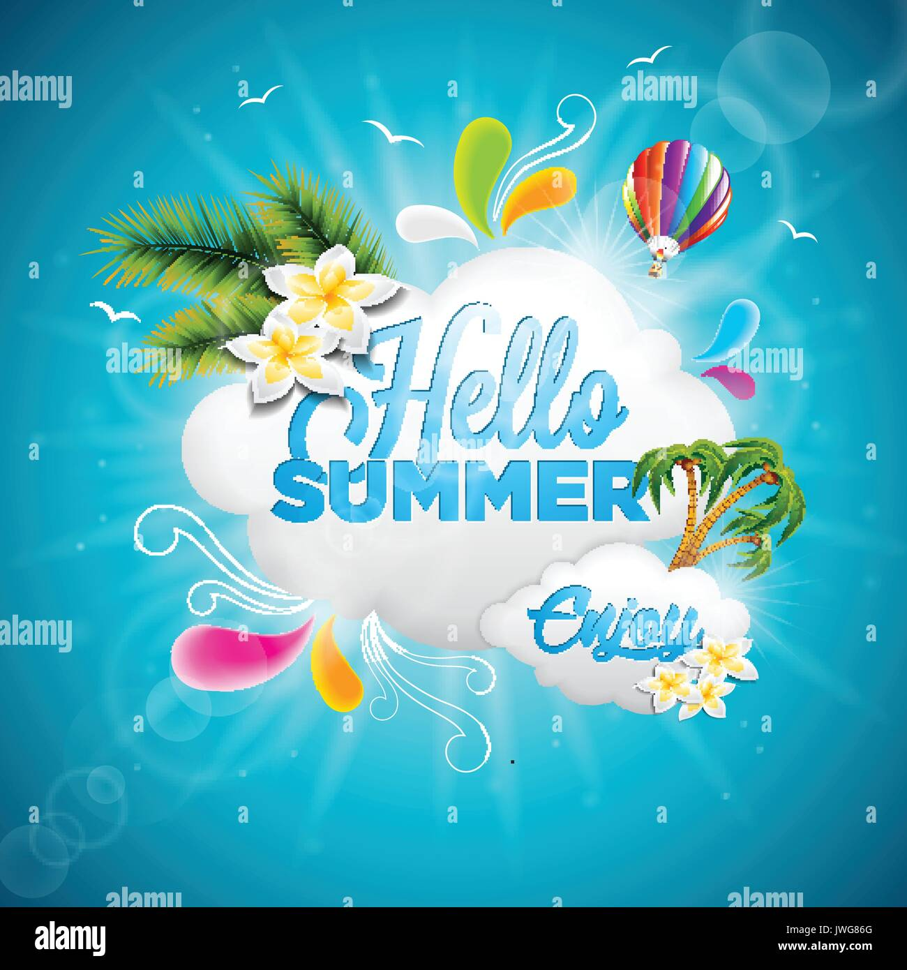 Vector Hello Summer Holiday Typographic Illustration With Tropical Plants,  Flower And Hot Air Balloon On Blue Background. Eps 10 Design.