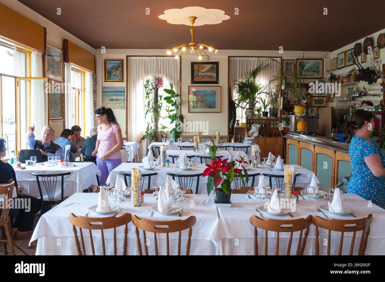 Restorante Milano at Peschiera Maraglio Monte Isola, Lake Iseo, Italy - Stock Image