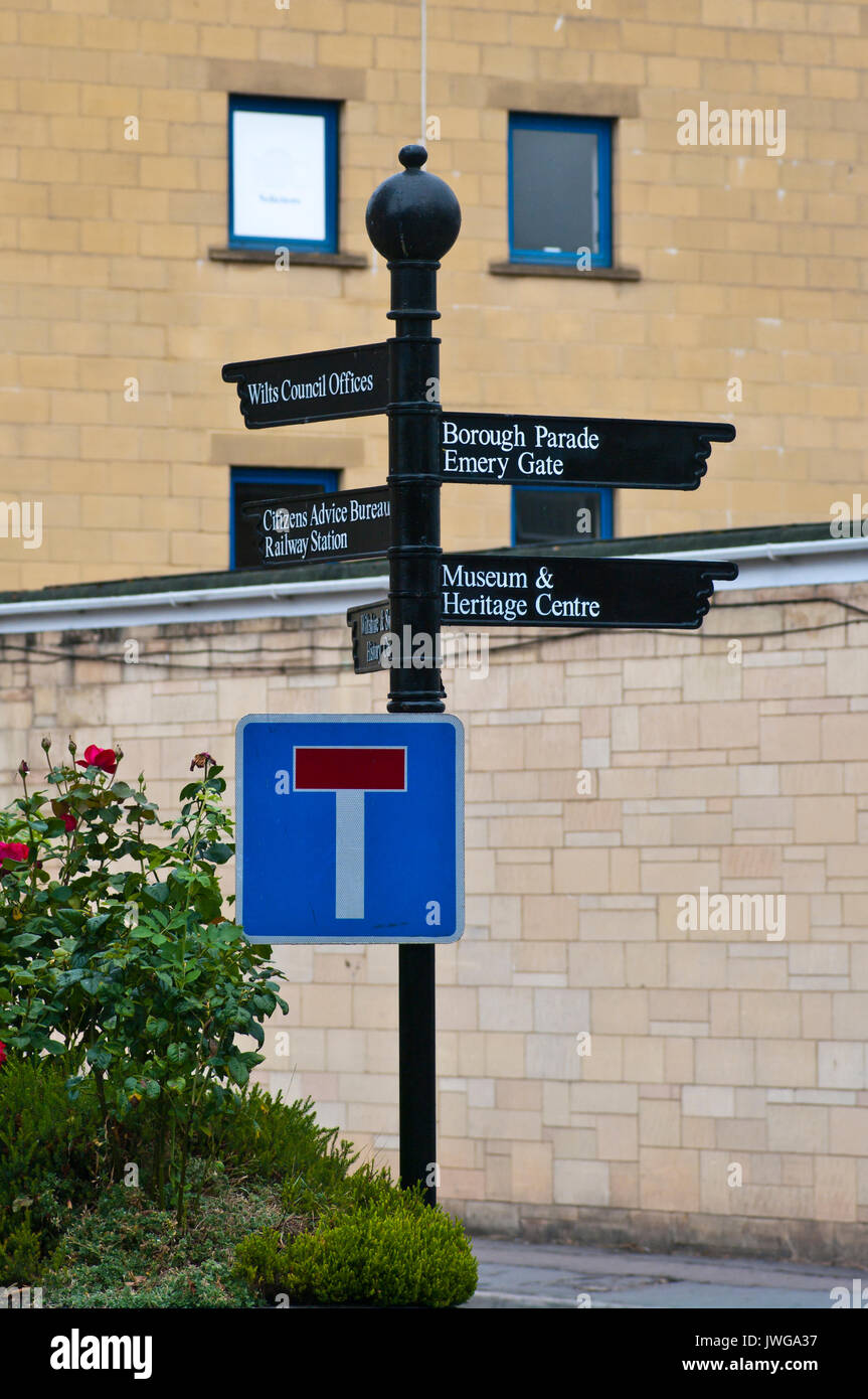 Chippenham Local Information Directions Sign To Wilts Council Offices Borough Parade Emery Gate Museum Heritage Centre - Stock Image