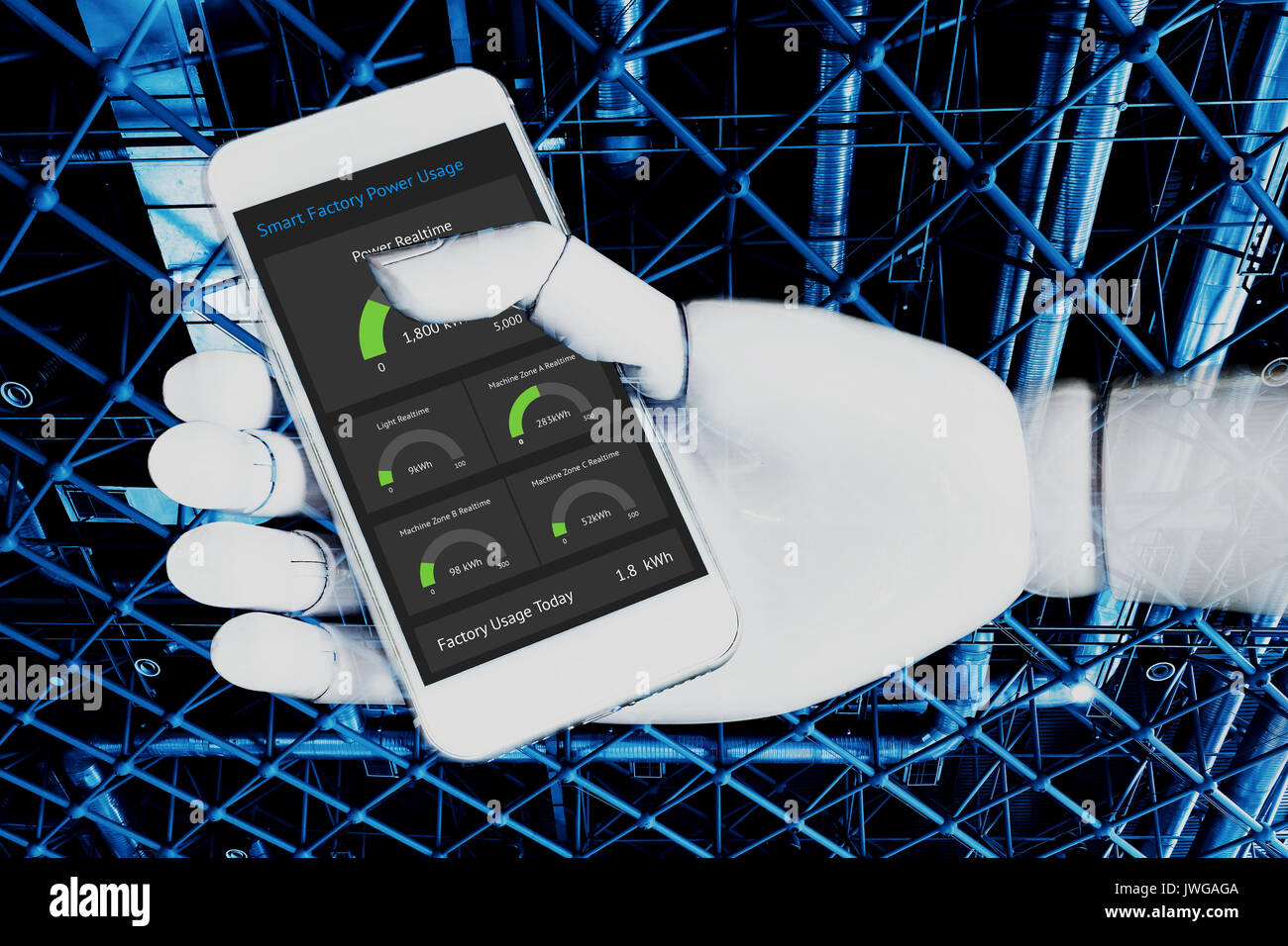 Internet of things , artificial intelligence , industry 4.0 technology network concept. Robot ai hand using white phone to control system power usage  - Stock Image