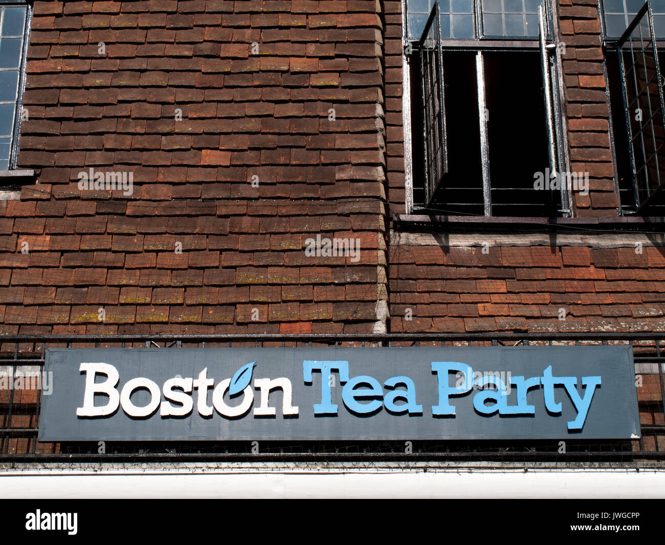 Boston Tea Party sign over premises, British family owned cafe group, first establishment opened in 1995 - Stock Image