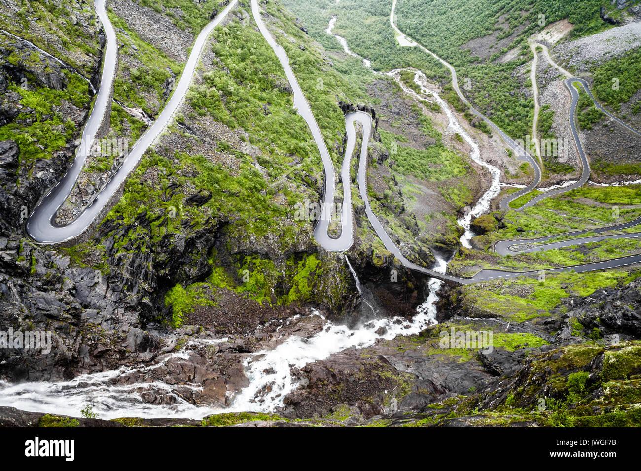 Hairpin bends at Trollstigen, Norway - Stock Image