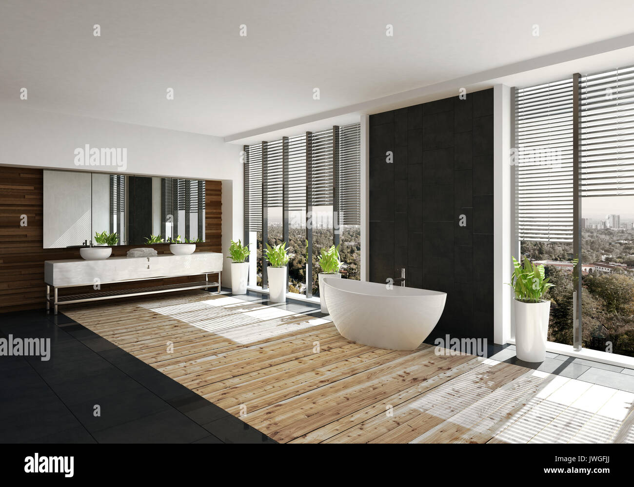 large modern bathroom. Modern Bathroom With Feature Black Wall And Boat Shaped Tub Flanked By Large View Windows Blinds. Double Vanity Over A Light Wood Floor. 3d Rende N