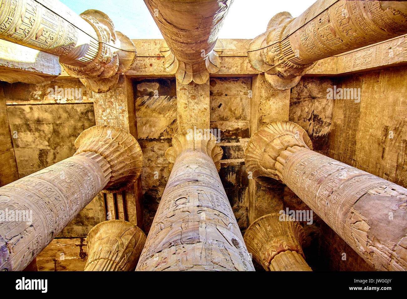 columns of the hypostyle hall of Karnak's temple in Luxor, Egypt - Stock Image