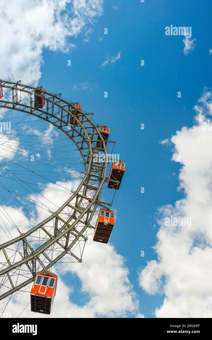 Vienna ferris wheel, a section of the famous Riesenrad ferris wheel in the Prater amusement park in Vienna, Austria. - Stock Image