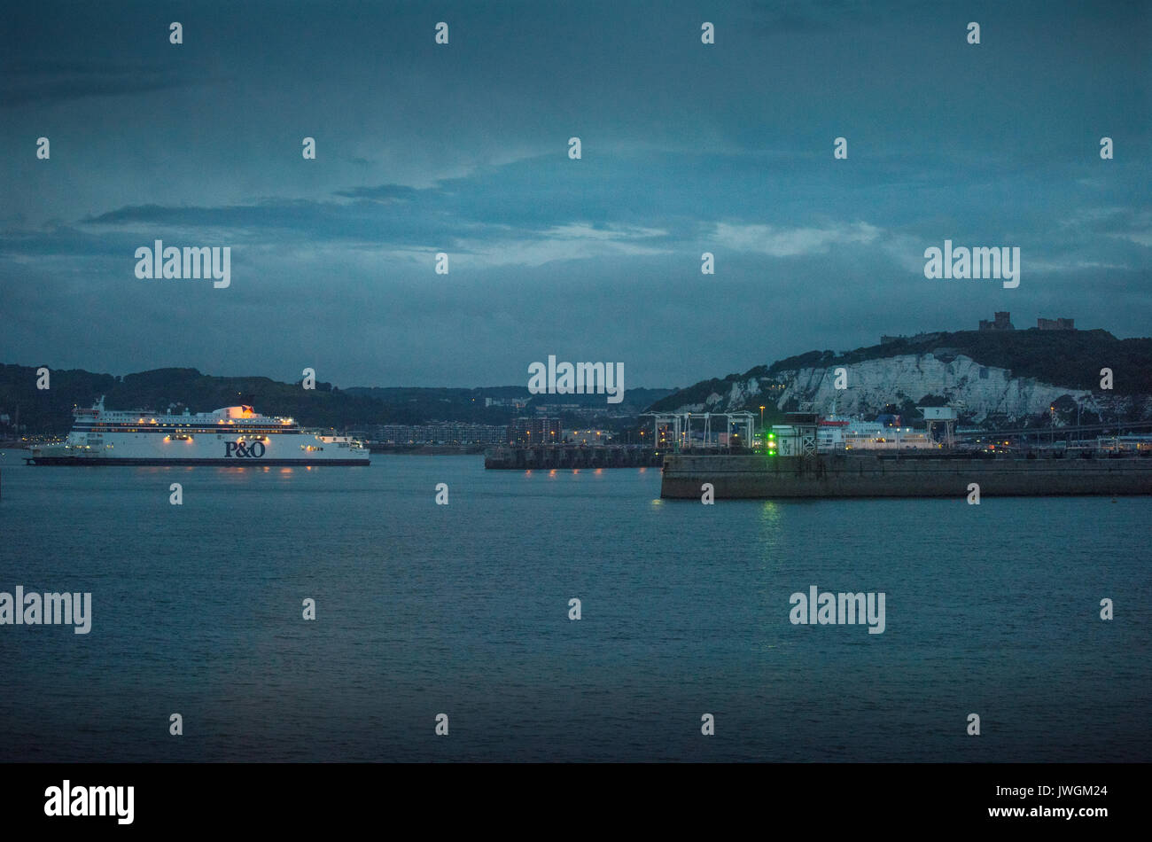 Dover Kent England,UK. August 2017 P&O Cross Channel Ferry entering Dover Port from Calais, France. - Stock Image