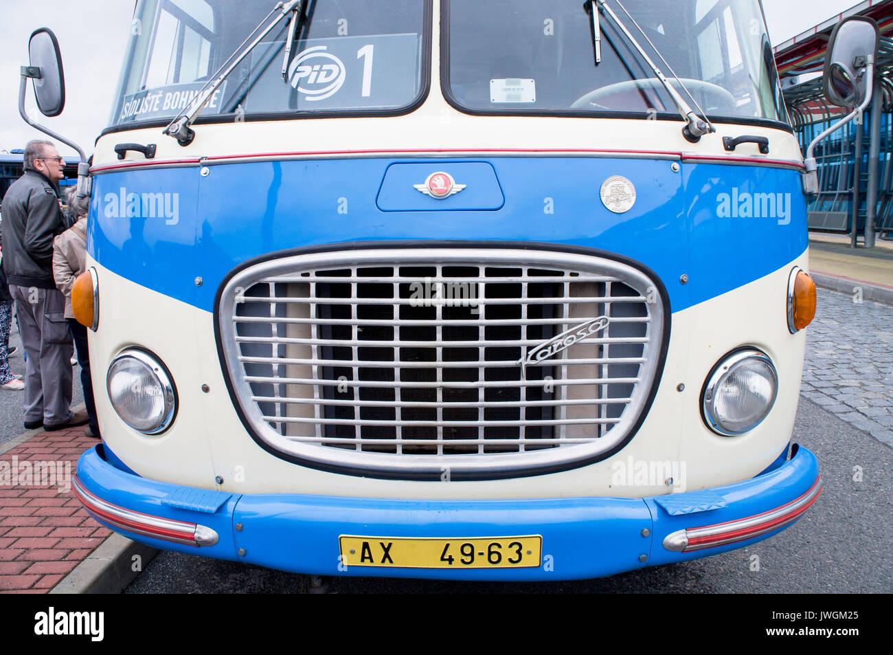 Skoda 706 RTO-KAR bus with trailer,25th anniversary of ROPID - Stock Image