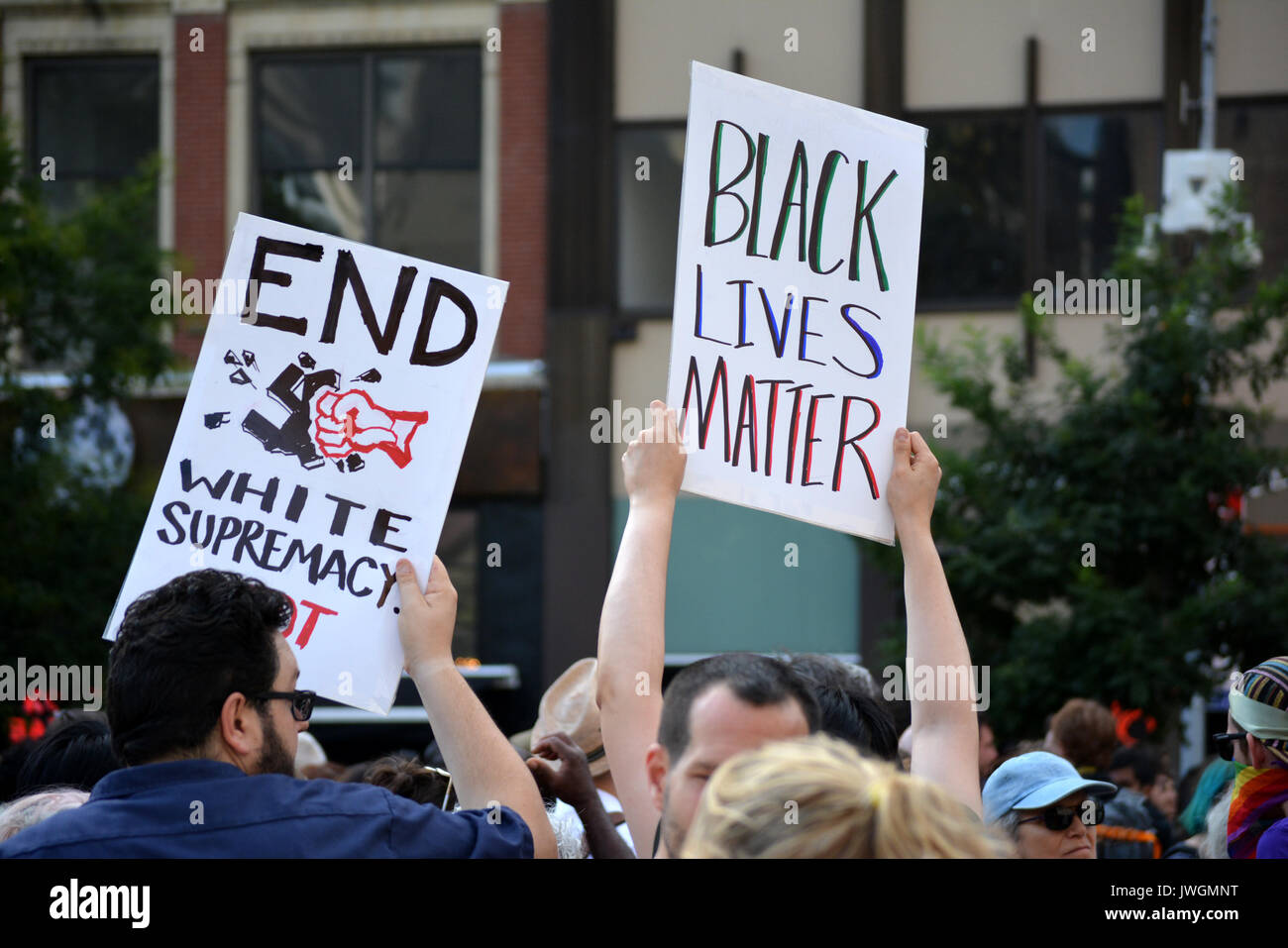 Rally in Union Square in Manhattan to protest neo-nazi violence in Charlottesville, Virginia and President Trump. - Stock Image
