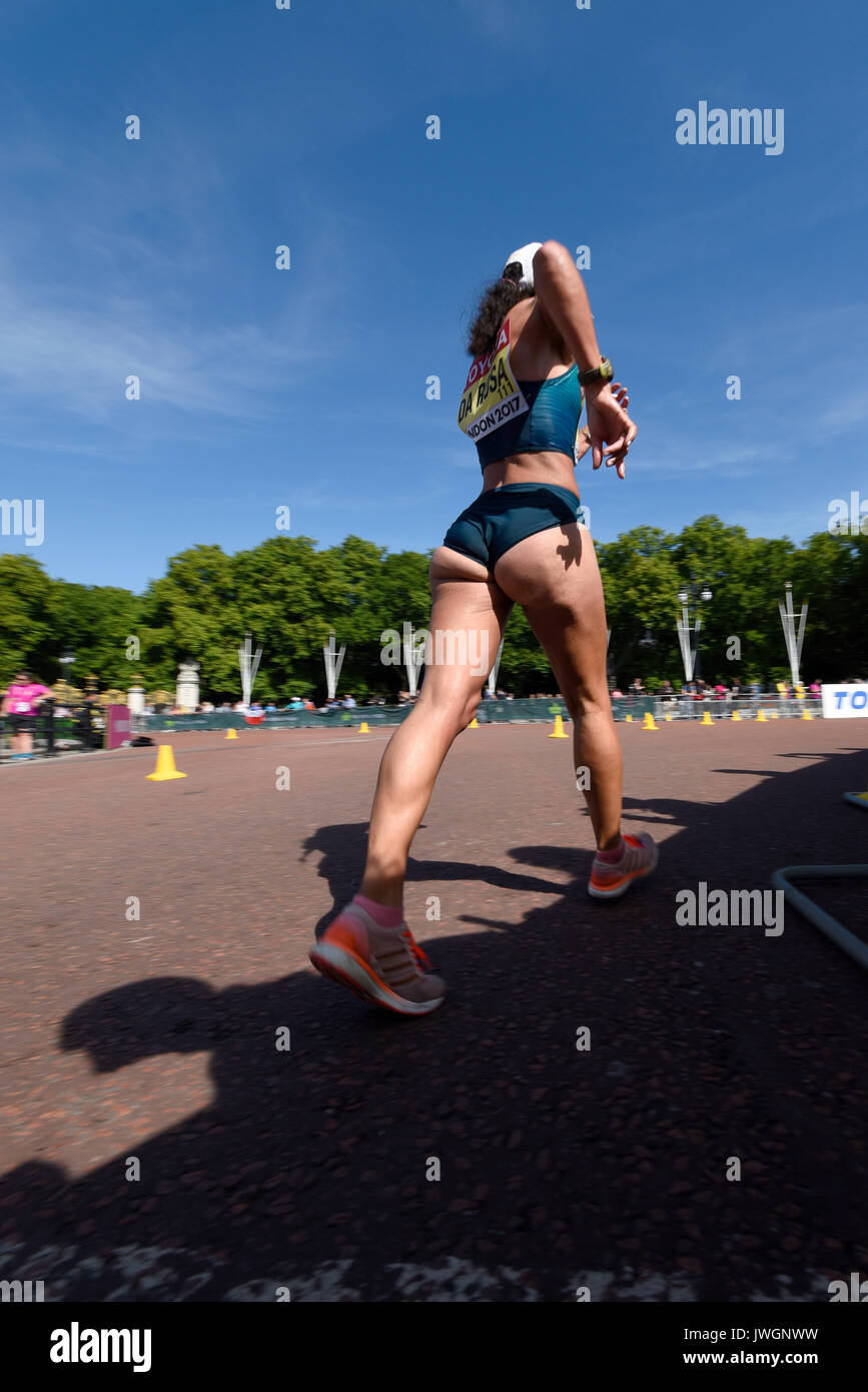 Nair Da Rosa of Brazil competing in the IAAF World Athletics Championships 50k walk in The Mall, London. Space for copy - Stock Image