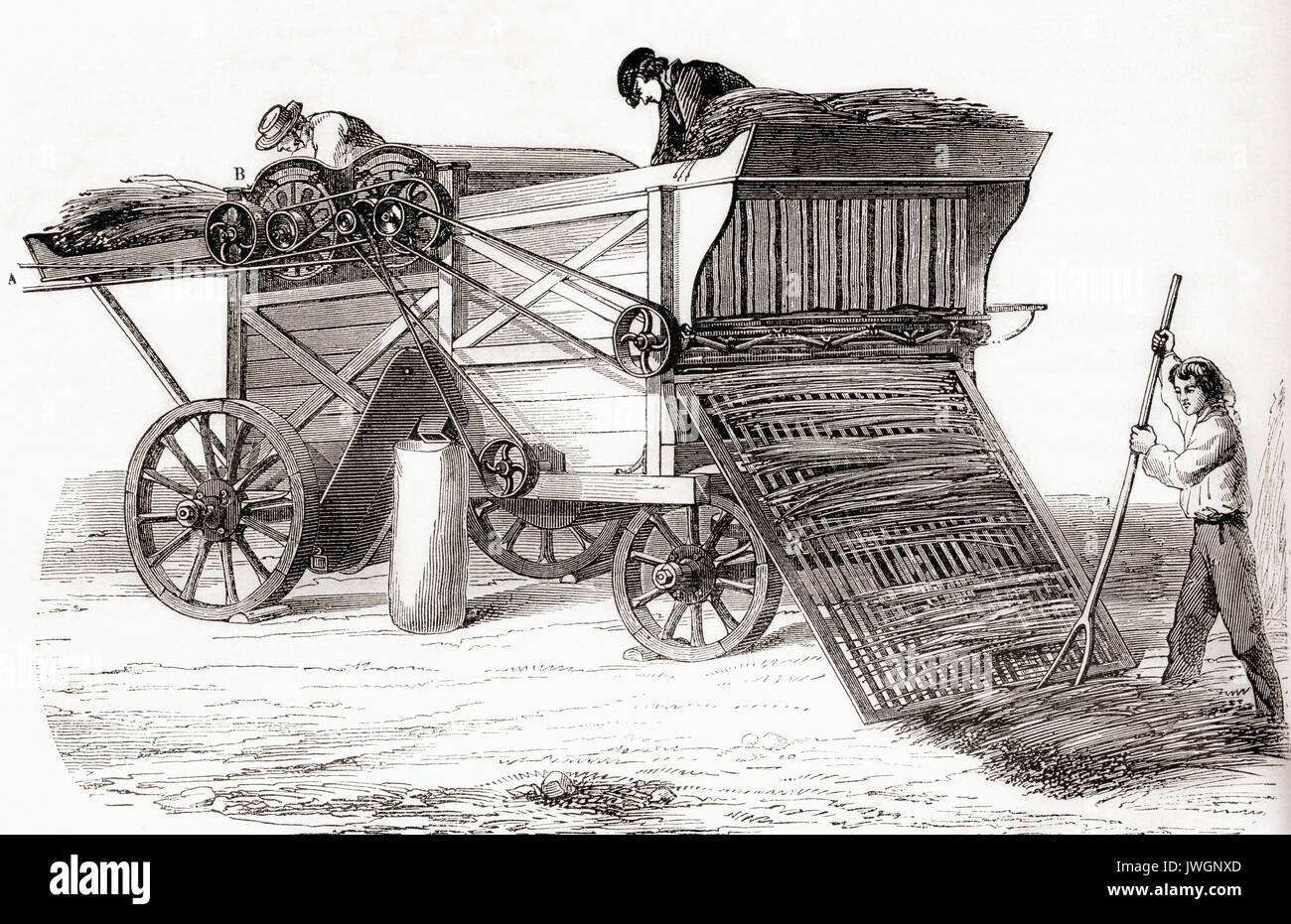 A 19th century threshing machine. From Les Merveilles de la ...