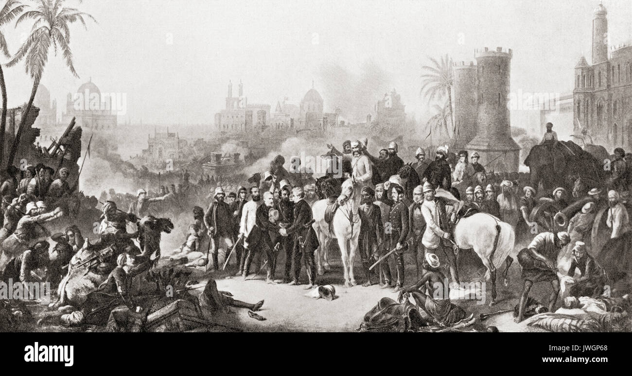 The meeting of Sir Colin Campbell with Havelock and Outram at the second relief of Lucknow, 1857.  Field Marshal Colin Campbell, 1st Baron Clyde, 1792 – 1863. British Army officer.  Major General Sir Henry Havelock, 1795 – 1857.  British general.  Lieutenant-General Sir James Outram, 1st Baronet, 1803 –1863.  English general.  From Hutchinson's History of the Nations, published 1915. Stock Photo