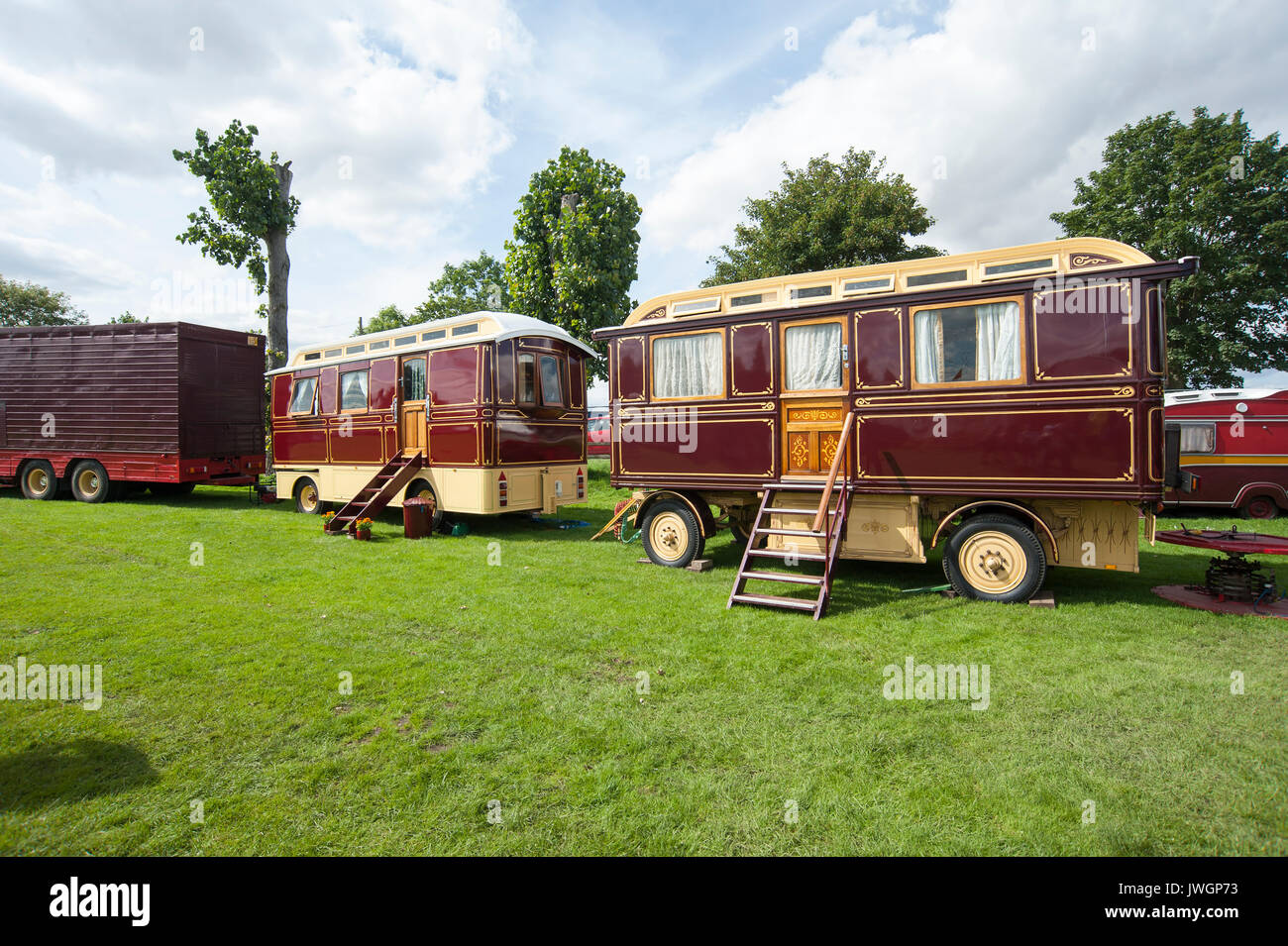 Vintage Showman's Caravans at Driffield Steam and Vintage Rally in the East Riding of Yorkshire, England, UK - Stock Image