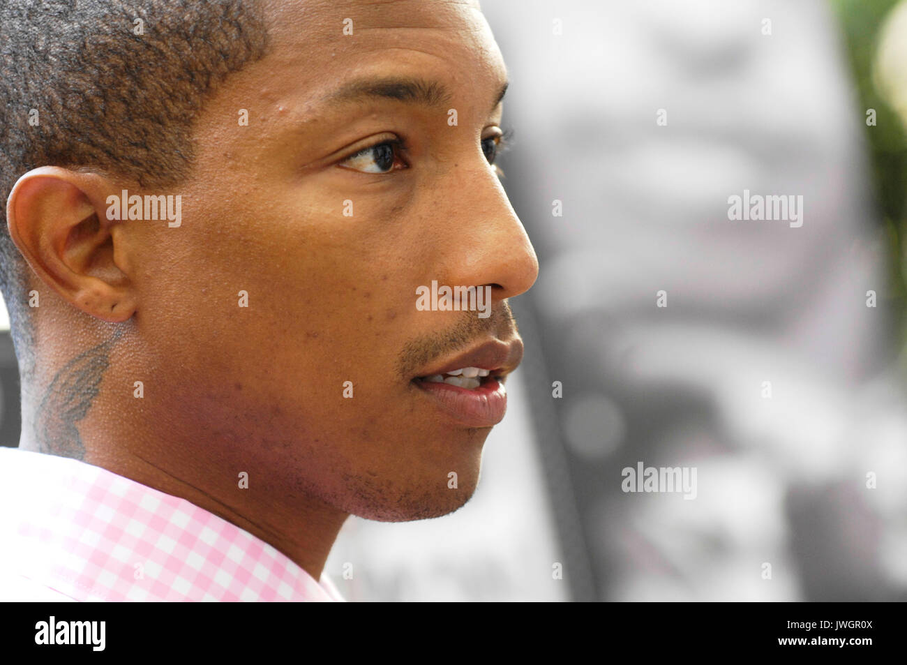 Pharrell Williams attends Brooklyn Element Media Day Beverly Wilshire Hotel August 1,2009 Beverly Hills,California. - Stock Image