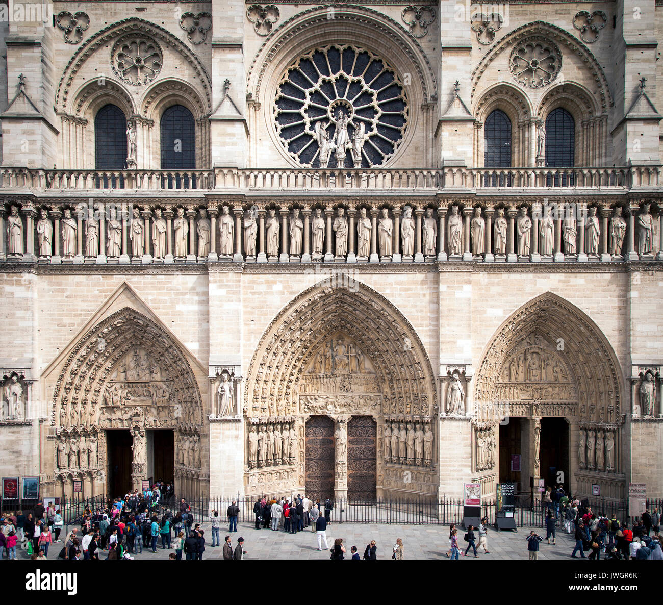 Front facade of Cathedral Notre Dame, Paris France - Stock Image