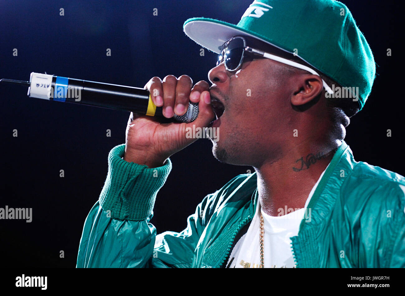 Rapper Nas performs Rock Bells. - Stock Image