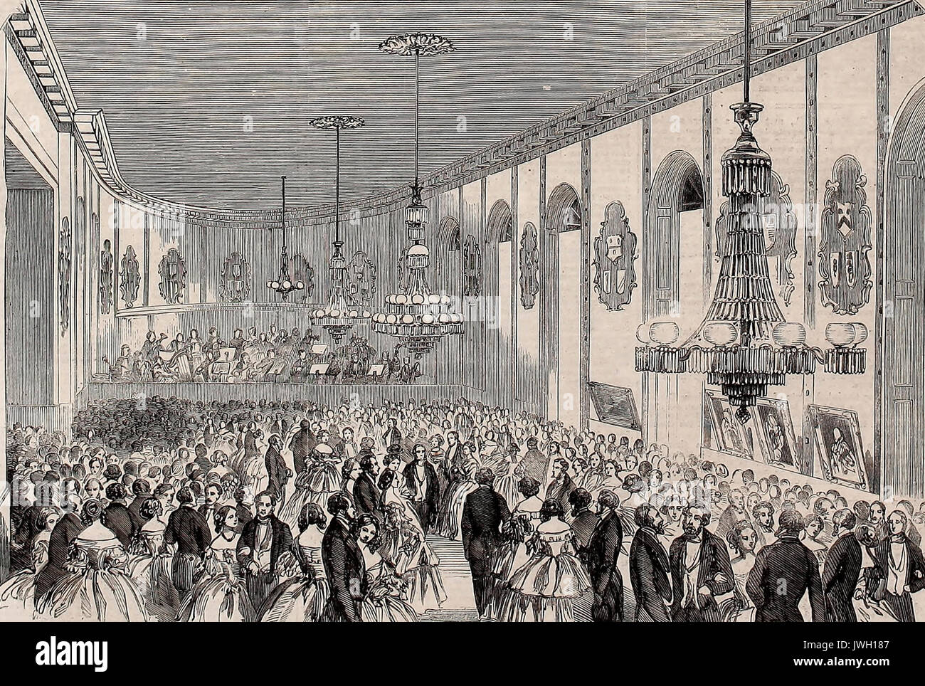 Ball at the Townhall, Oxford, in aid of the Widow and Orphans Fund of the Great Western Railway Company, 1860 - Stock Image