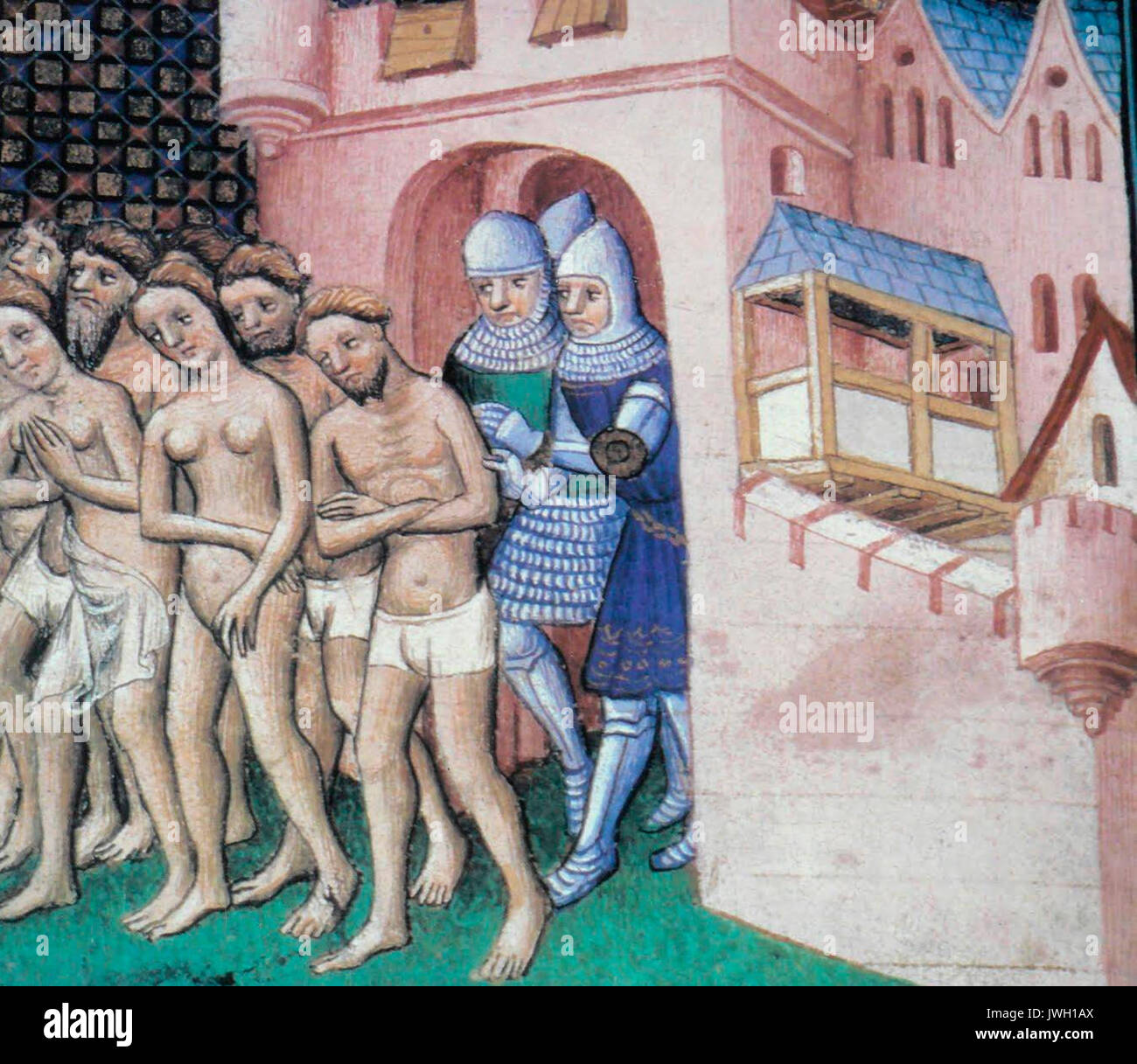 Expulsion of the inhabitants from Carcassone in 1209. Image taken from Grandes Chroniques de France. Expulsion of the Cathars, circa 1415.  Workshop of Master of Boucicaut - Stock Image