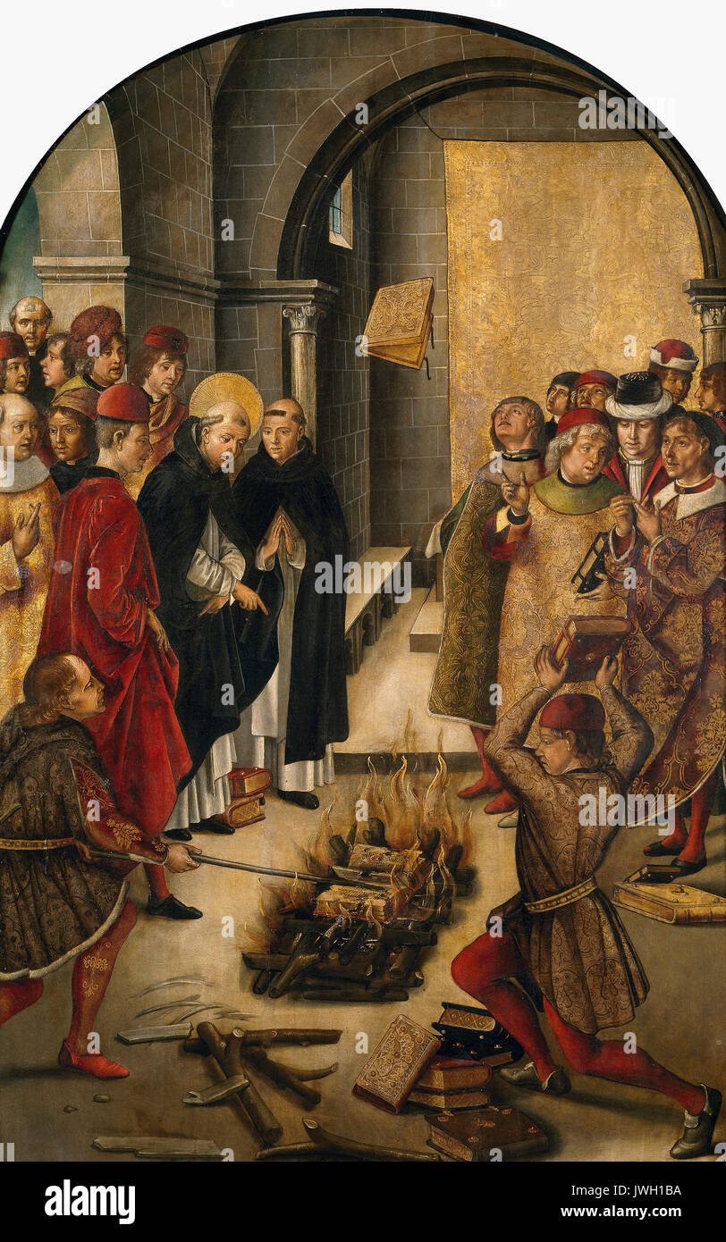 St. Dominic de Guzman and the Albigensians - This portrays the story of a dispute between Saint Dominic and the Cathars in which the books of both were thrown on a fire and St.Dominic's books were miraculously preserved from the flames. This was believed to symbolize the wrongness of the Cathars' teachings, circa 1495 - Pedro Berruguete - Stock Image