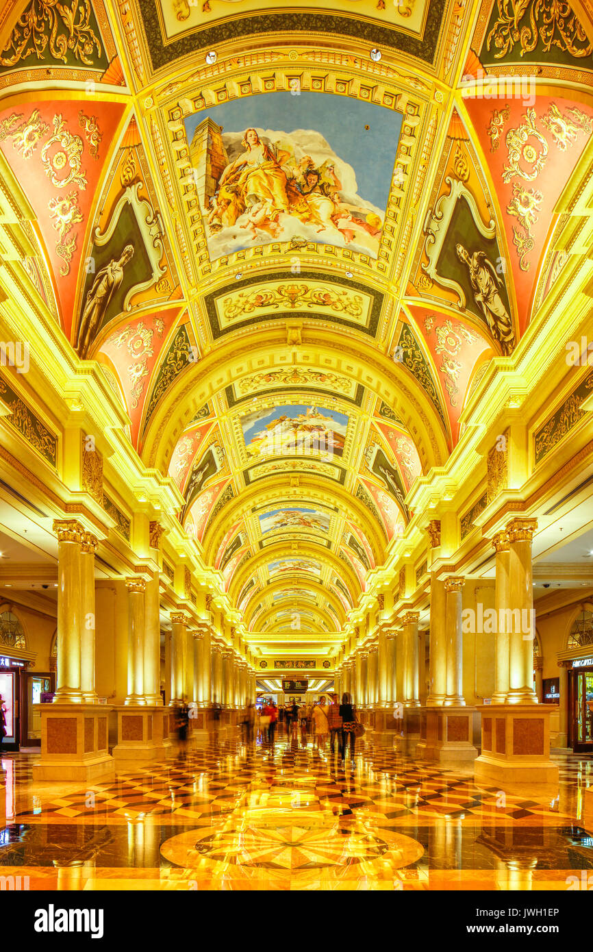 The intricate patterns on the ceiling of the Venetian Hotel and Casino, Cotai, Macau. - Stock Image