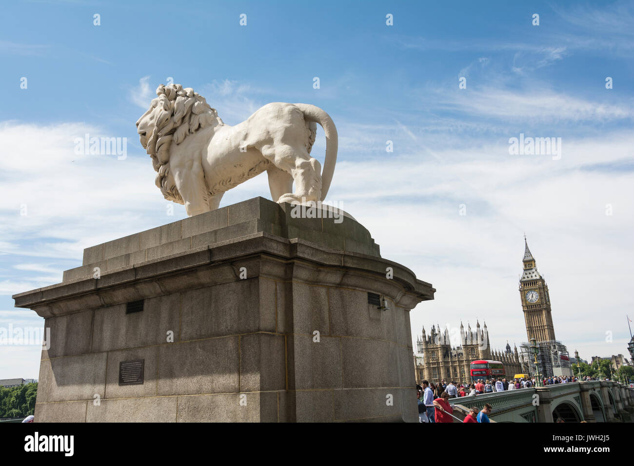 The South Bank Coade stone Lion, by William F. Woodington, on Westminster Bridge, London, UK - Stock Image