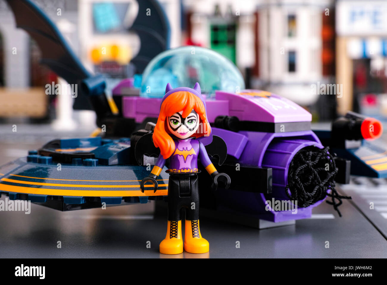 Tambov, Russian Federation - March 04, 2017 Lego DC Super Hero Batgirl mini-doll figure standing in front of his Stock Photo