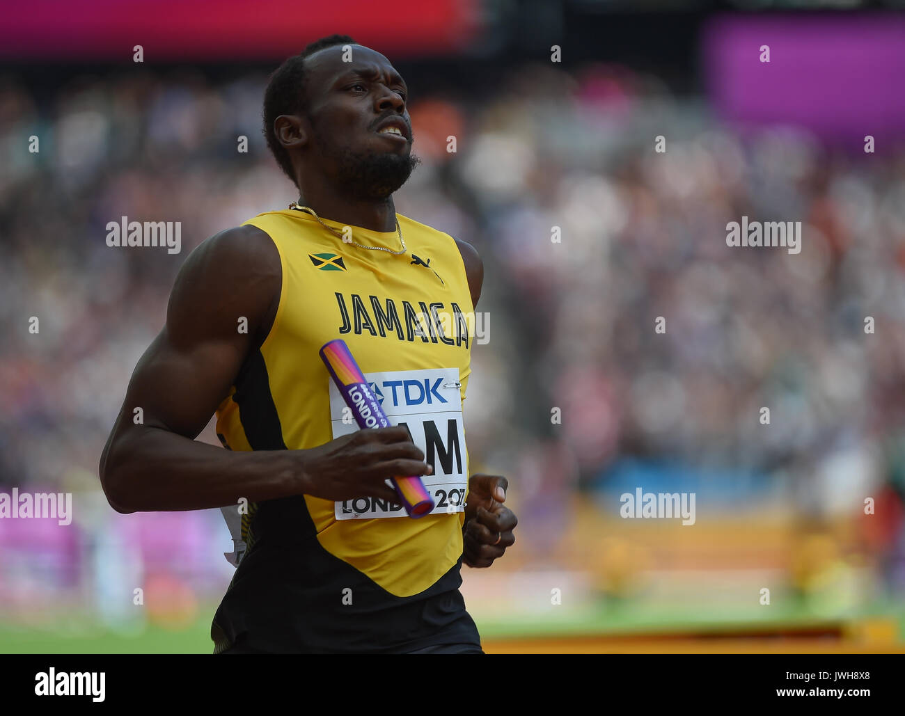 London, UK. 12th Aug, 2017. Usain Bolt during 4 times 100 meter relay heat in London at the 2017 IAAF World Championships athletics. Credit: Ulrik Pedersen/Alamy Live News - Stock Image
