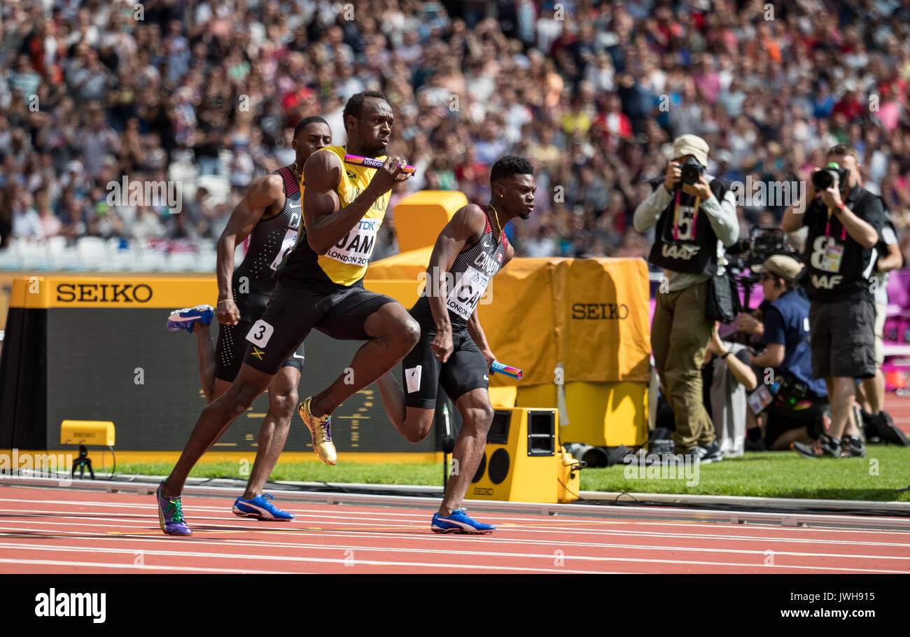 London, UK. 12th Aug, 2017. Usain BOLT of Jamaica runs the final leg of the 4x100 metres heat during the IAAF World Athletics Championships 2017 on DAY 9 at the Olympic Park, London, England on 12 August 2017. Photo by Andy Rowland/PRiME Media Images. Credit: Andrew Rowland/Alamy Live News - Stock Image