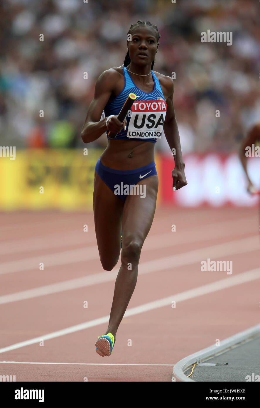 London, UK. 12 Aug, 2017. Shakima Wimbley 4 X400 Metres World Athletics Championships 2017 London Stam, London, England 12 August 2017 Credit: Allstar Picture Library/Alamy Live News - Stock Image