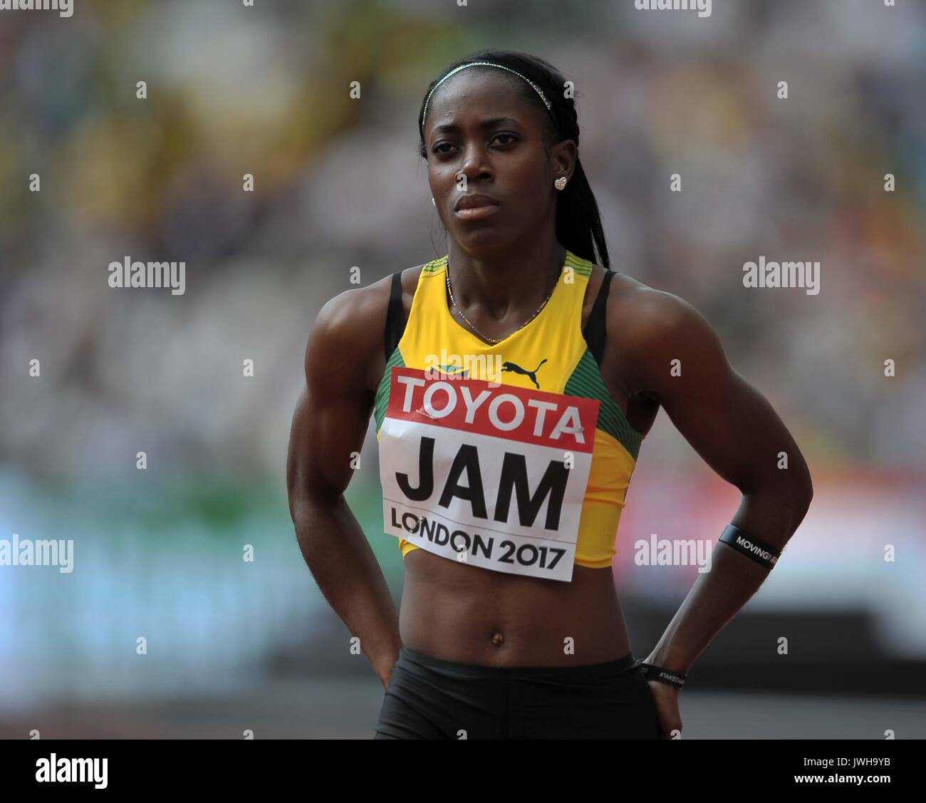 Lonodn, UK. 12 Aug, 2017. Sashalee Forbes (JAM) in the womens 4 x 100m relay. IAAF world athletics championships. London Olympic stadium. Queen Elizabeth Olympic park. Stratford. London. UK. 12/08/2017. Credit: Sport In Pictures/Alamy Live News - Stock Image