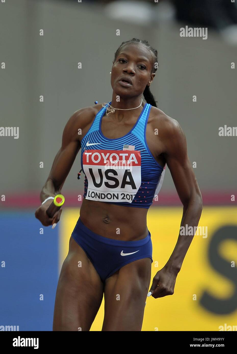 Lonodn, UK. 12 Aug, 2017. Shakima Wimbley (USA) in the womens 4 x 400m relay. IAAF world athletics championships. London Olympic stadium. Queen Elizabeth Olympic park. Stratford. London. UK. 12/08/2017. Credit: Sport In Pictures/Alamy Live News - Stock Image