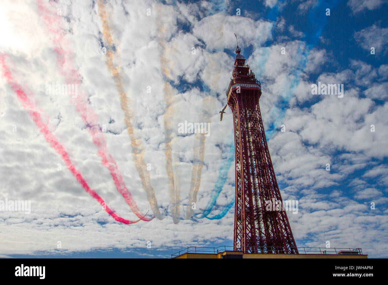 Blackpool, Lancashire, UK. 12th Aug, 2017. Red Arrows, aircraft, red, aviation, flight, airshow, jet, plane, flying, Stock Photo
