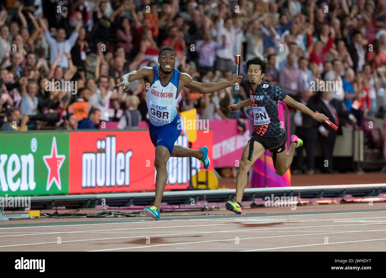 London, UK. 12th Aug, 2017. Nethaneel Mitchell-Blake of GBR as the Great Britain Relay team win the 4x100 metre Gold during the IAAF World Athletics Championships 2017 on DAY 9 at the Olympic Park, London, England on 12 August 2017. Photo by Andy Rowland / PRiME Media Images. Credit: Andrew Rowland/Alamy Live News - Stock Image