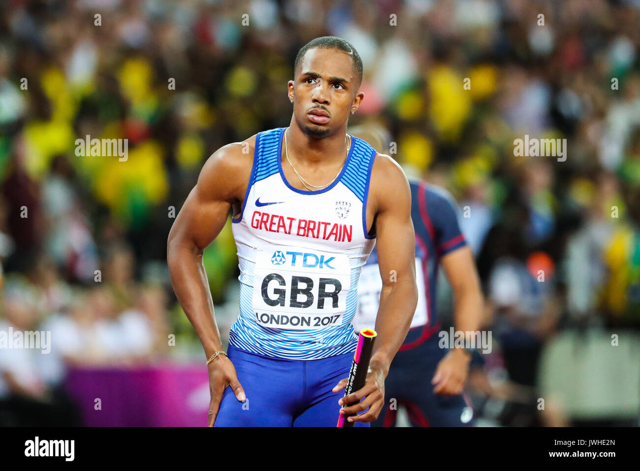 London, UK. 12th Aug, 2017. London, August 12 2017 . Chijindu Ujah at the start of the men's 4x 100m relay on day nine of the IAAF London 2017 world Championships at the London Stadium. Credit: Paul Davey/Alamy Live News - Stock Image
