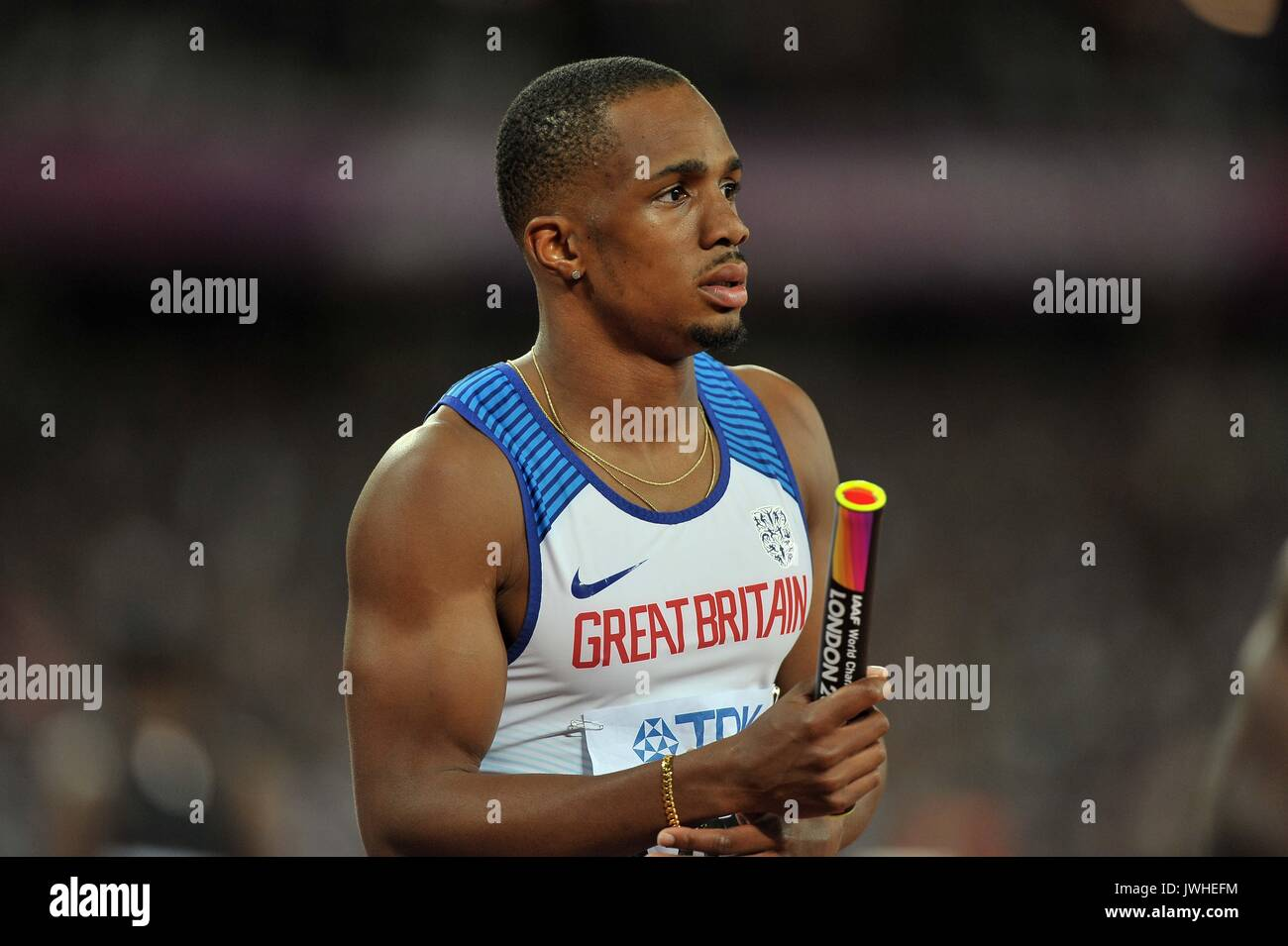 Chijindu UJAH with the baton at the start of the mens 4 x 100m relay. IAAF world athletics championships. London Olympic stadium. Queen Elizabeth Olympic park. Stratford. London. UK. 12/08/2017.  MANDATORY CREDIT Garry Bowden/SIPPA - NO UNAUTHORISED USE - +44 7837 394578 - Stock Image