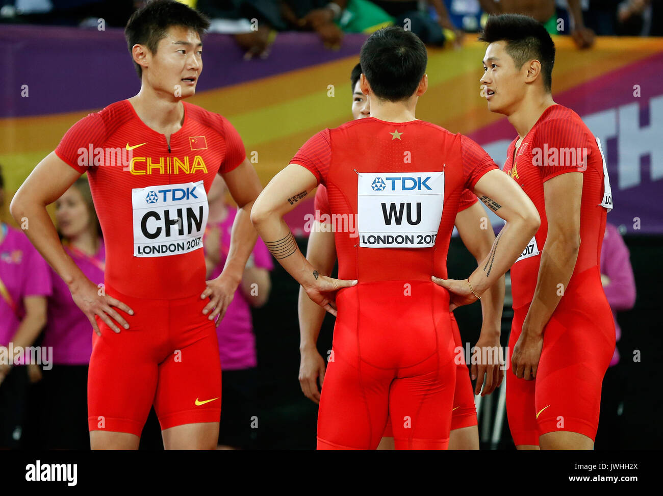 (170813) -- LONDON, Aug. 13, 2017 -- Team China react after the men's 4x100m relay final on Day 9 at the IAAF World Championships 2017 in London, Britain on Aug. 12, 2017. (Xinhua/Wang Lili) - Stock Image