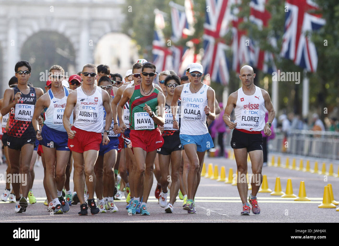 London, UK. 13th Aug, 2017.  Athletes compete during the 50km Race Walk at the IAAF World Athletics Championships, Stock Photo