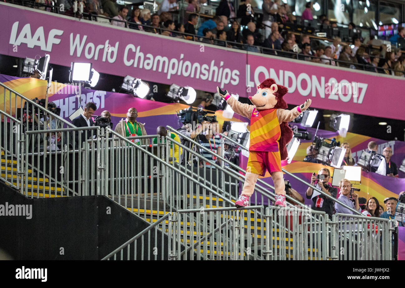 London, UK. 12th August, 2017. HERO the Hedgehog the Official Mascot for the games stands on the rails of a media section and entertains the crowd during the IAAF World Athletics Championships 2017 on DAY 9 at the Olympic Park, London, England on 12 August 2017. Photo by Andy Rowland / PRiME Media Images./Alamy Live News - Stock Image